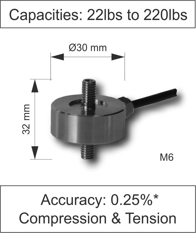 Quick Product Miniature In Line Load Cell 210 Series lbs